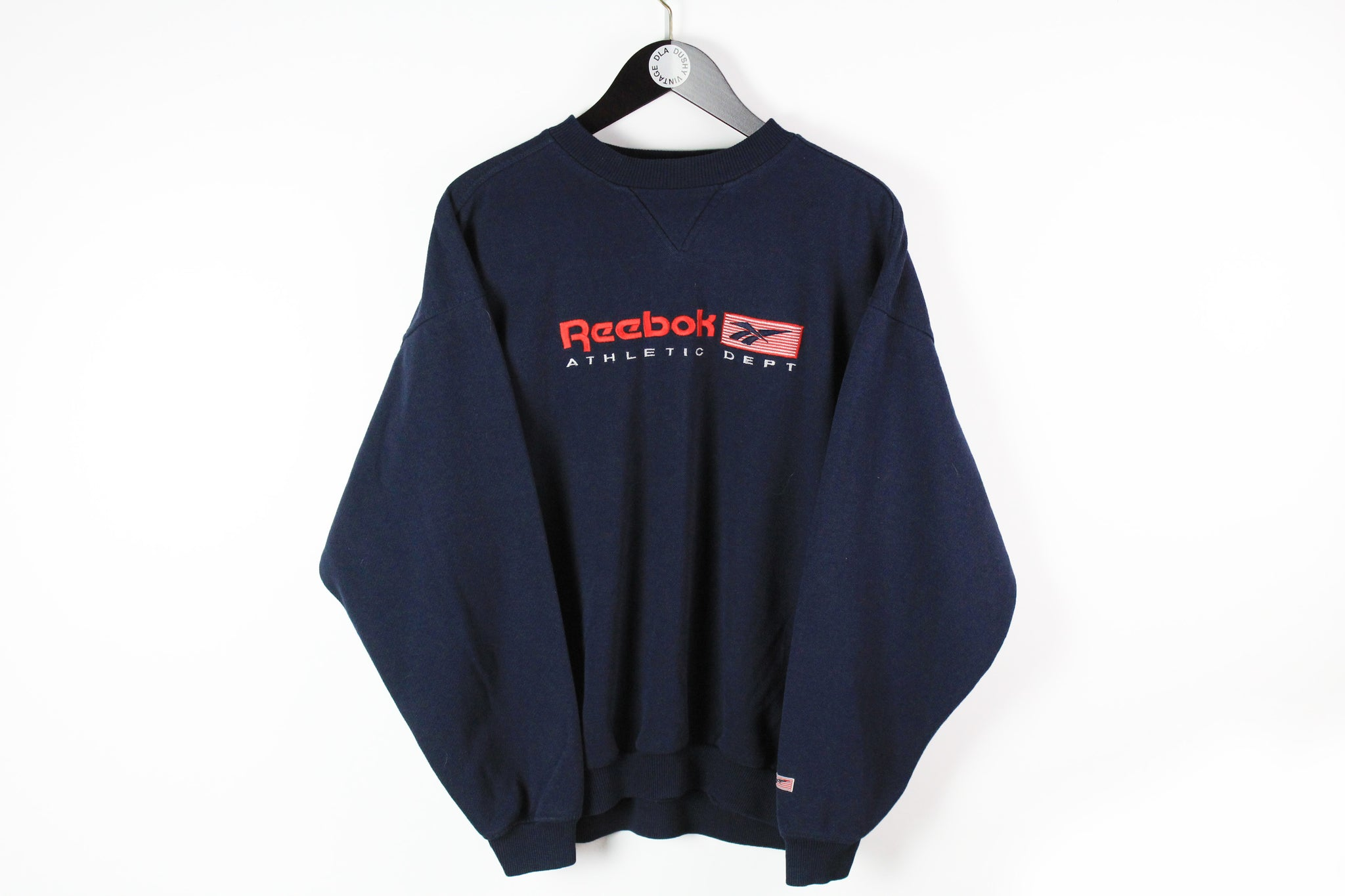 Vintage Reebok Sweatshirt Large navy blue big logo 90s sport athletic dept retro style jumper