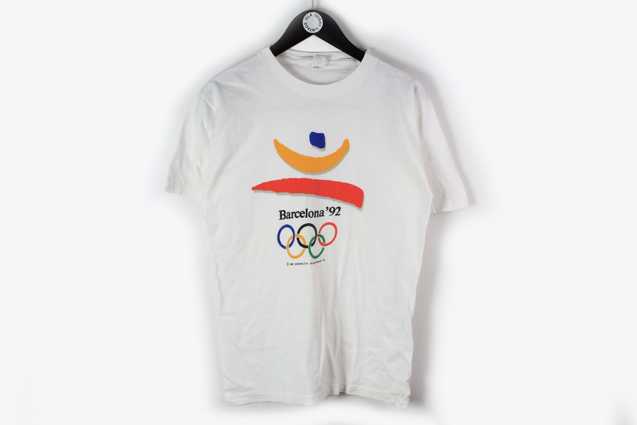 Vintage Barcelona 1992 Olympic Games T-Shirt Large white big logo 90s sport