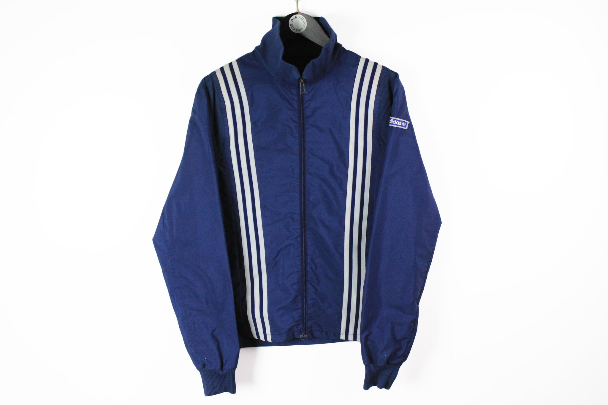 Vintage Adidas Track Jacket Large 70s blue sport white stripes windbreaker