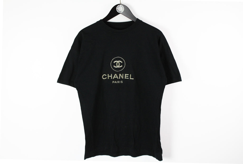 Vintage Chanel Bootleg Big Embroidery Logo Large black silver big logo 90s classic cotton tee