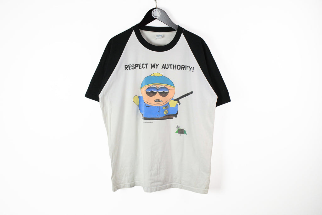 Vintage South Park Eric Cartman 1999 T-Shirt XLarge white big logo respect my authority 90s cartoon Comedy Central tee