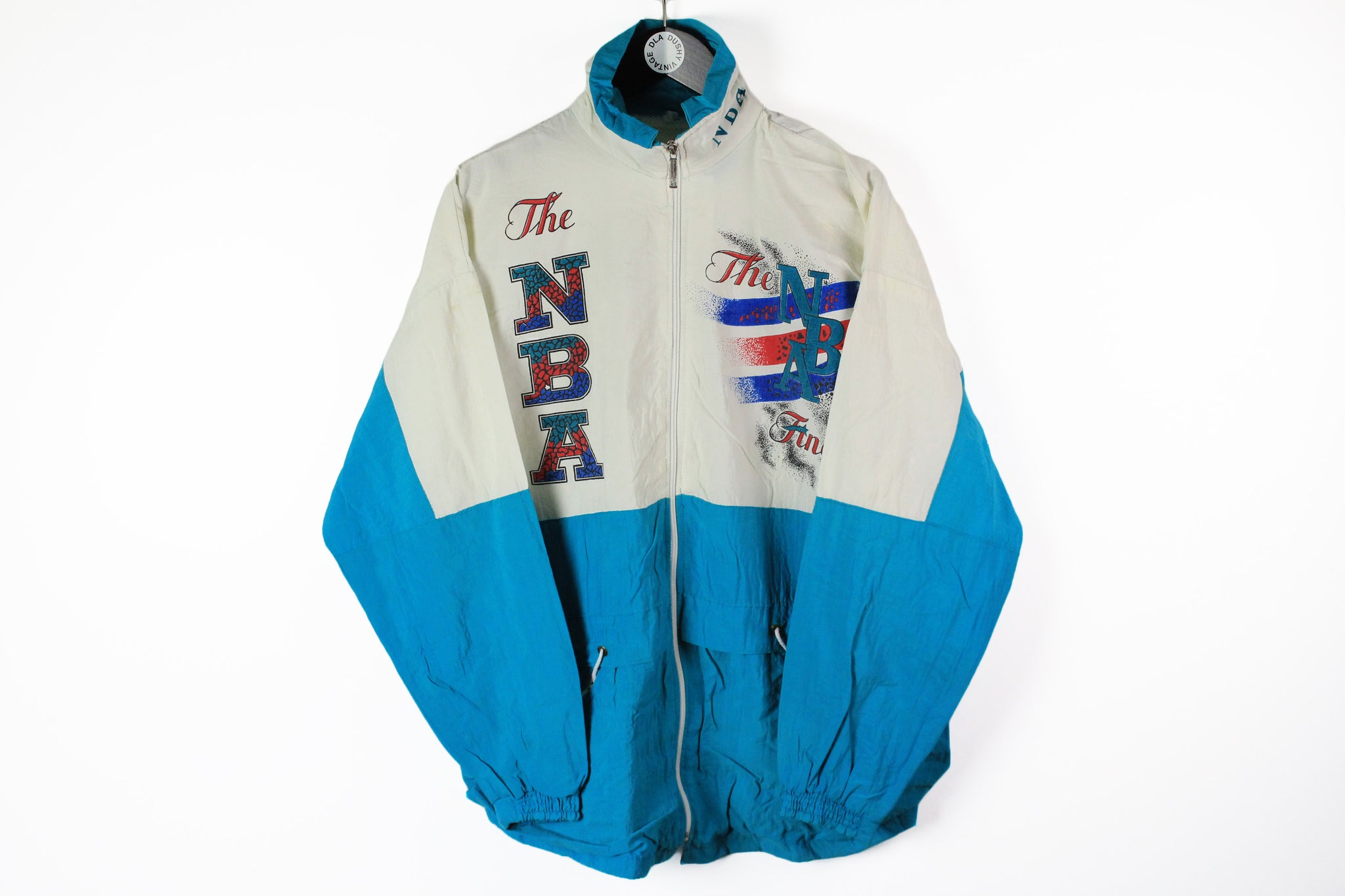 Vintage The NBA Finals Track Jacket Large white blue 80s sport windbreaker