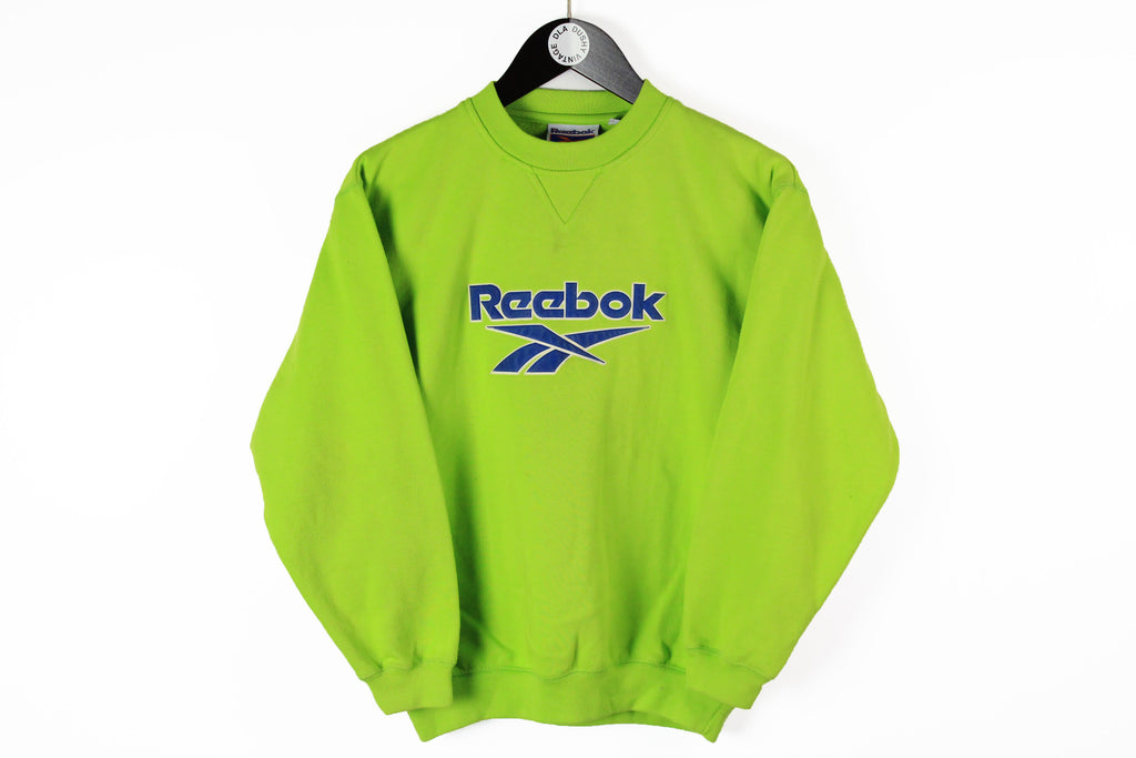 Vintage Reebok Sweatshirt Women's Small green neon 90s sport big logo jumper UK style
