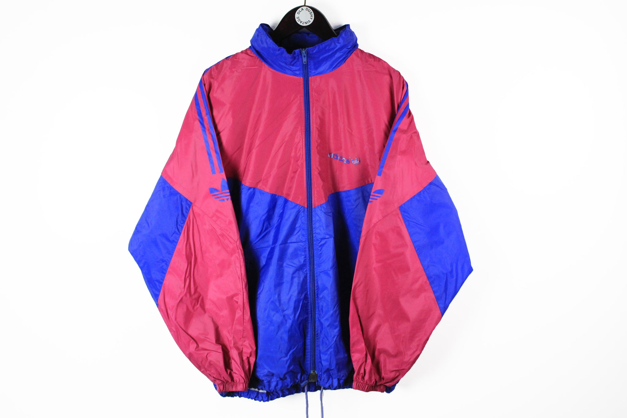 Vintage Adidas Jacket Large pink blue 90s sport windbreaker retro style full zip jacket