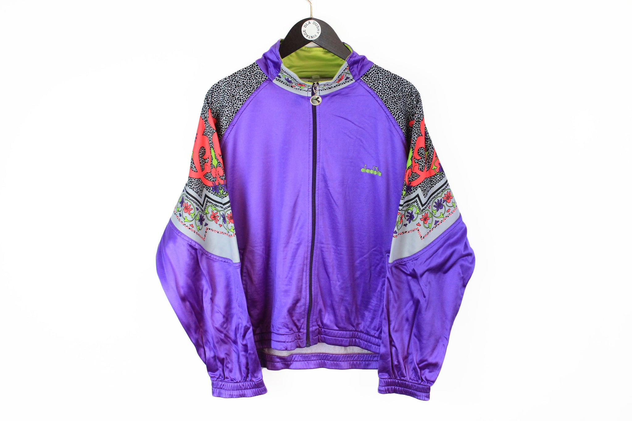 Vintage Diadora Track Jacket Medium purple multicolor 90s sport full zip windbreaker