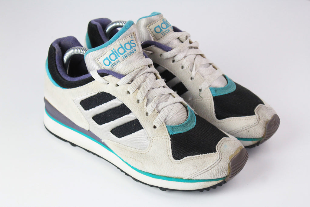 Vintage Adidas Tech Trainer Sneakers EUR 39 gray 90s sport shoes