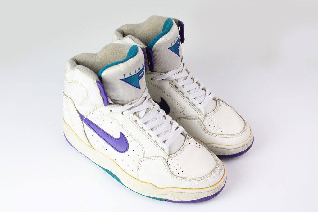 Vintage Nike Air Flight Sneakers EUR 41 white high top 90s basketball shoes
