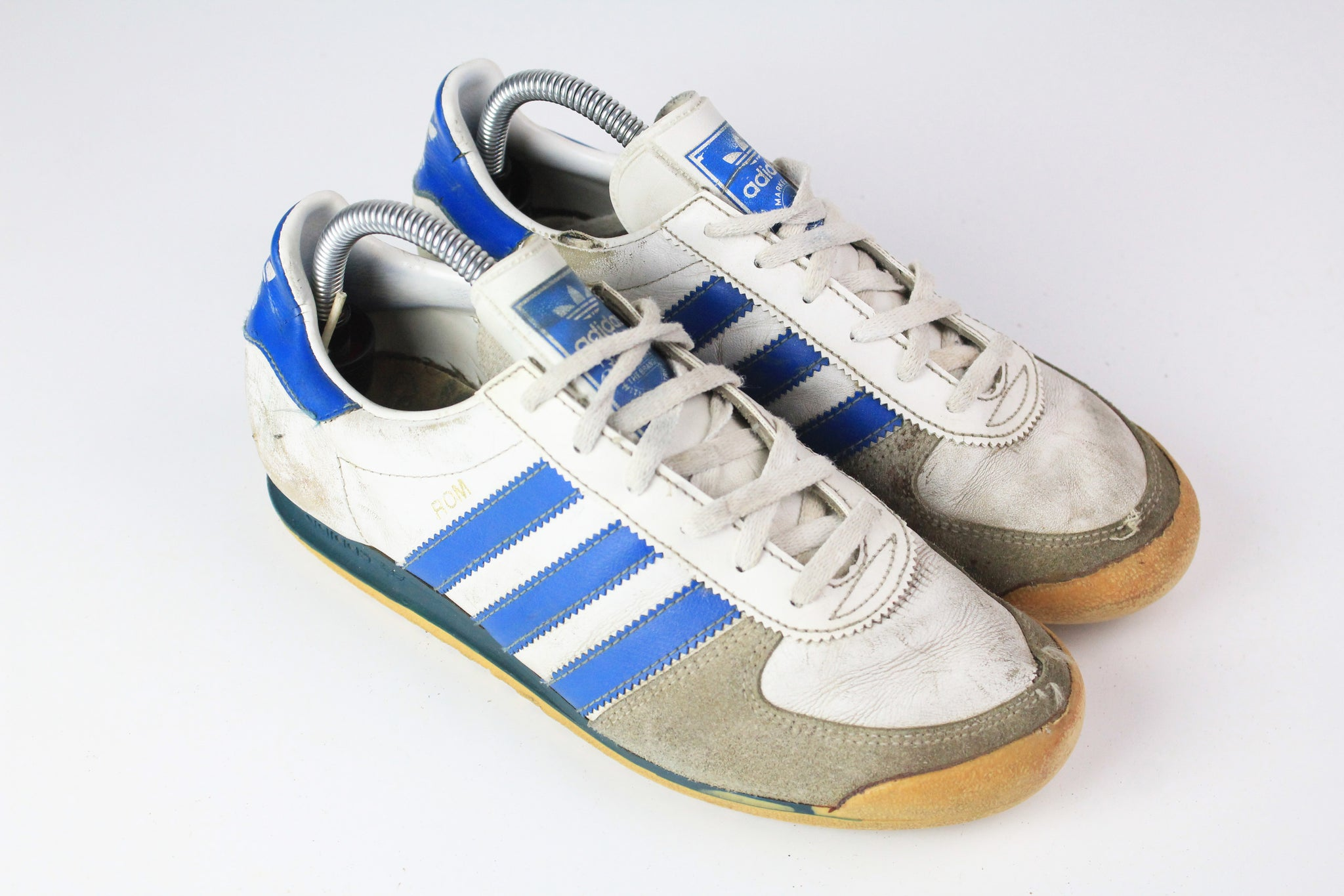 Vintage Adidas Rom Sneakers US 6 City series whit blue 90s made in Taiwan shoes trainers