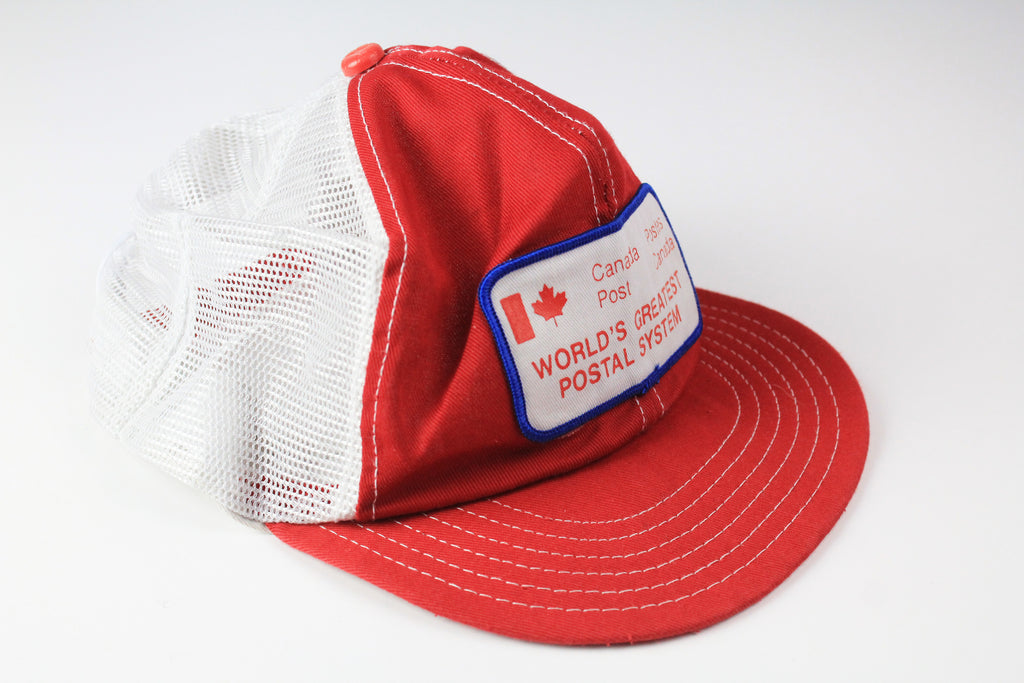 Vintage Canada Post Trucker Cap red white 90s World's Greatest Postal System hat