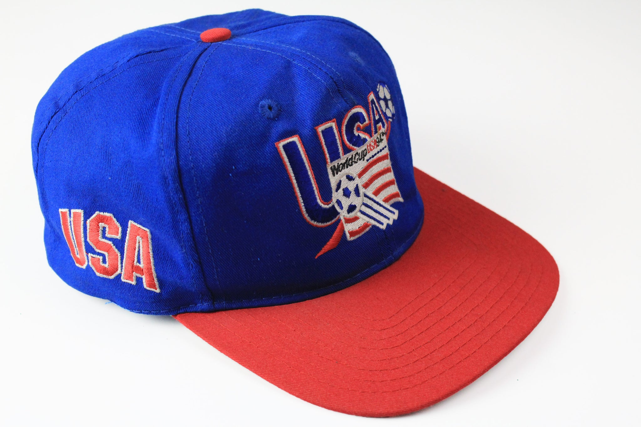 Vintage World Cup USA 94 Cap blue red big logo 90s sport football hat