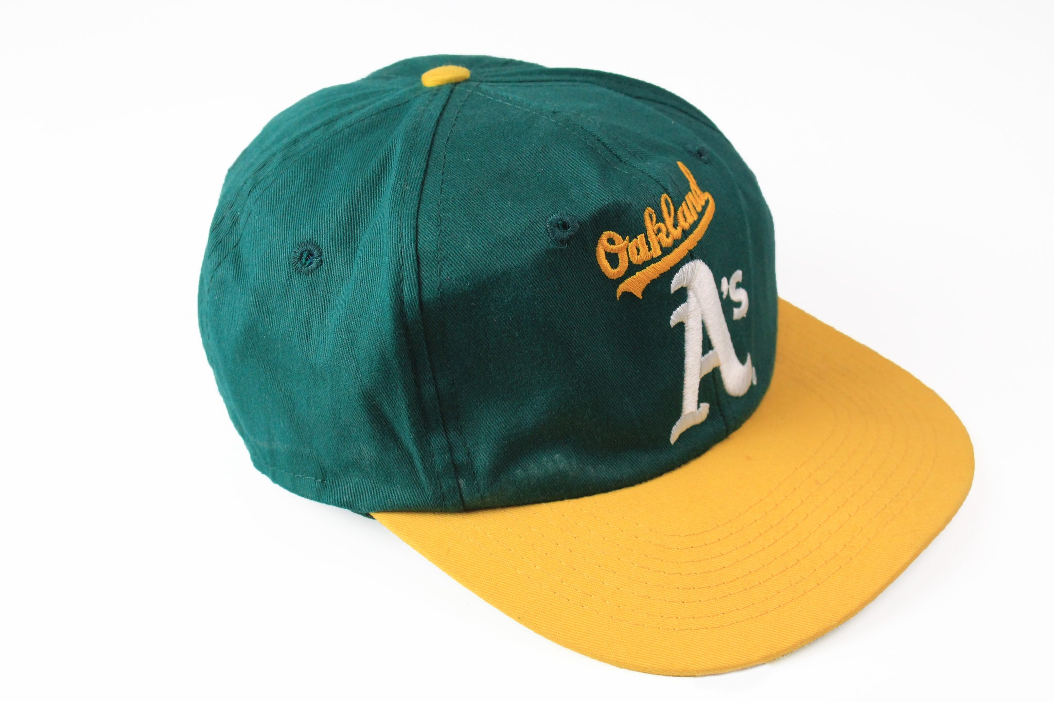 Vintage Oakland Athletics Cap green yellow 90s big logo hat