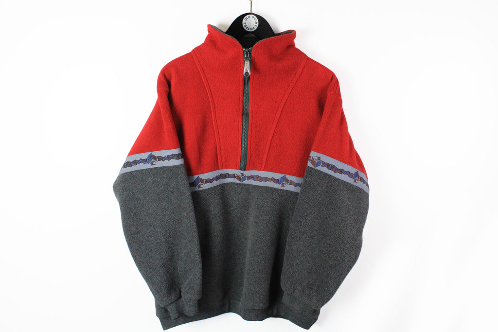 Vintage O'Neill Fleece Half Zip Large gray red 90s sport retro style ski sweater