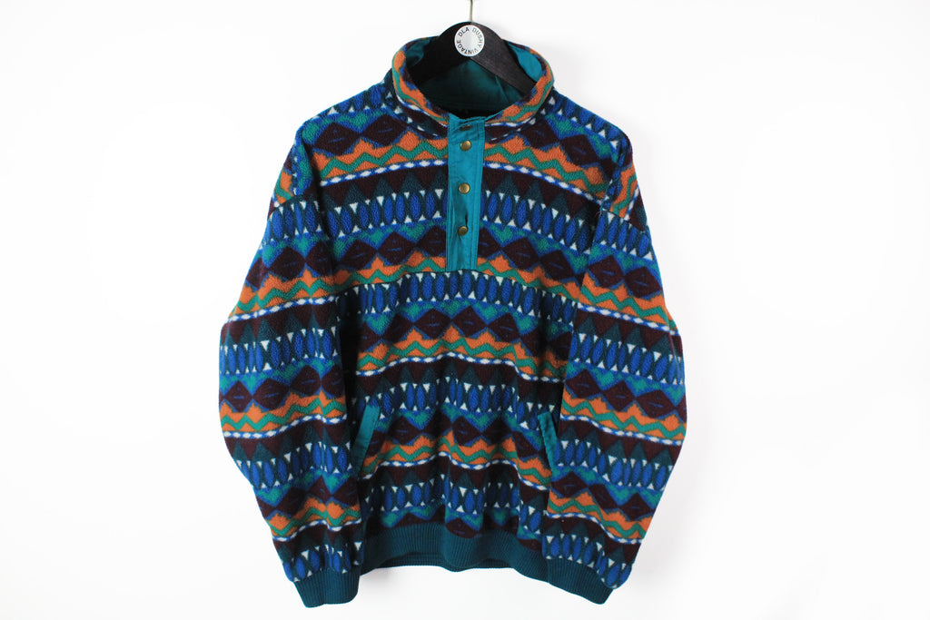 Vintage Fleece Snap Buttons Large multicolor abstract crazy pattern 90s sport ski sweater