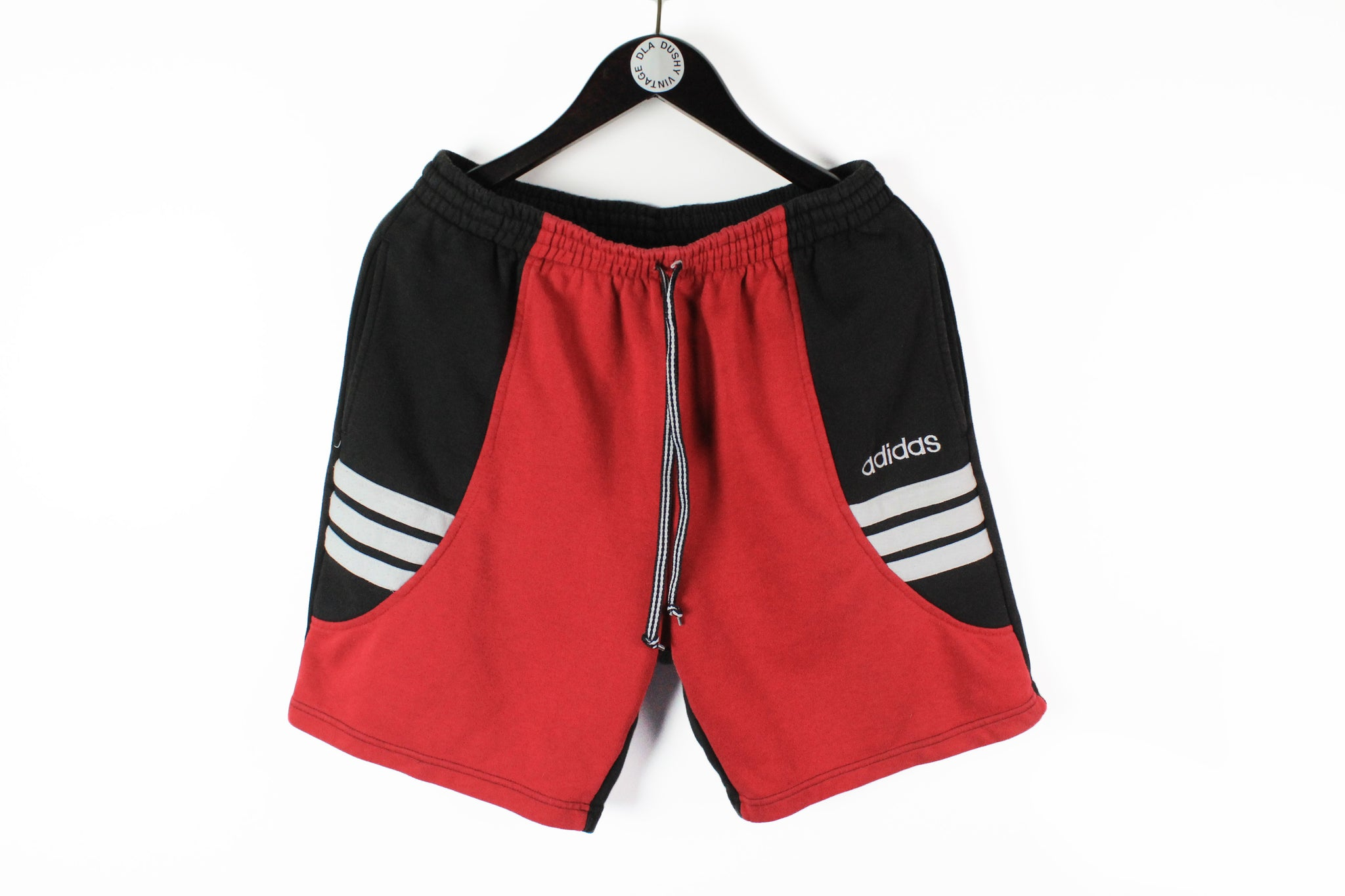 Vintage Adidas Shorts Large red black 90s cotton retro style shorts