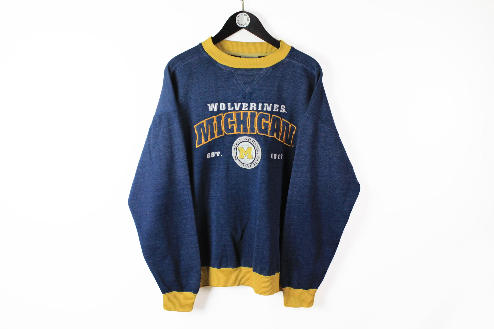 Vintage Michigan Wolverines Lee Sweatshirt Large blue yellow 90s sport big logo University style jumper