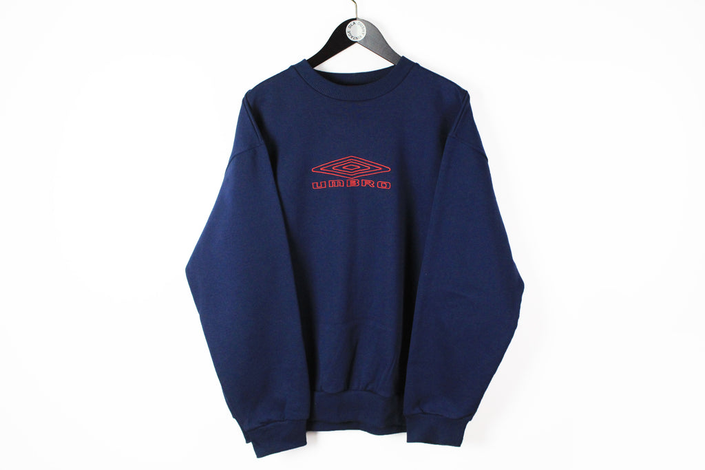 Vintage Umbro Sweatshirt 3XLarge navy blue big logo 90s sport classic UK jumper