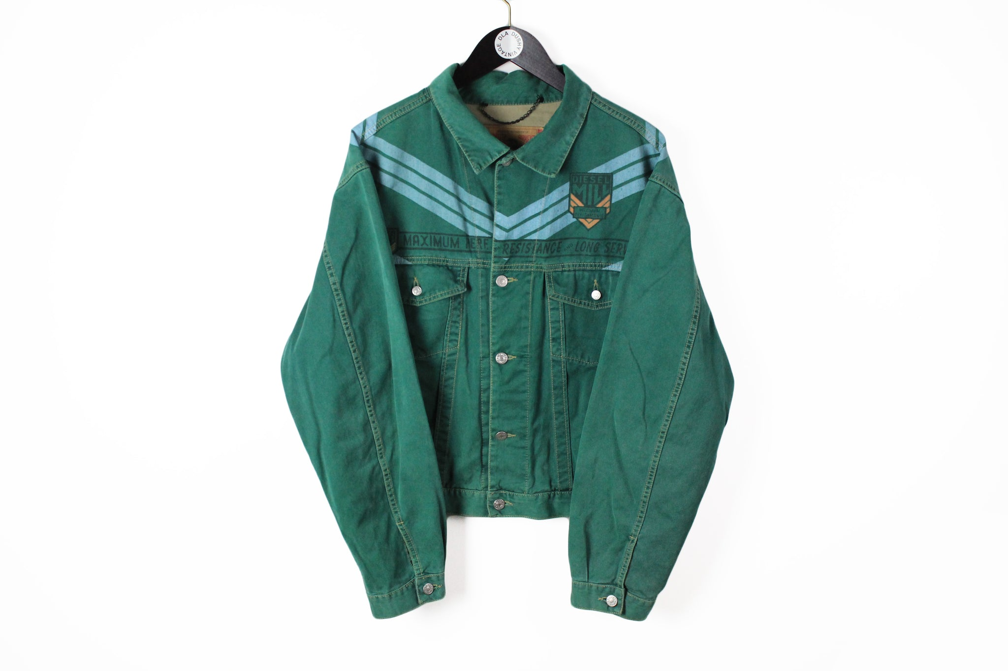 Vintage Diesel Denim Jacket Large green 90s military long sleeve classic style USA wear