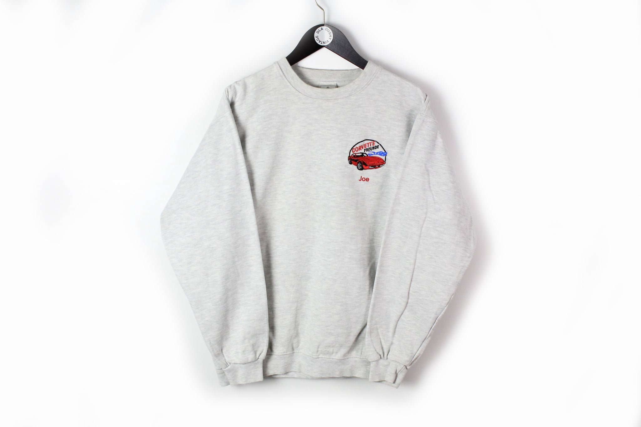 Vintage Corvette Freunde Sweatshirt Medium 90s Hanes gray embroidery logo Joe retro style jumper