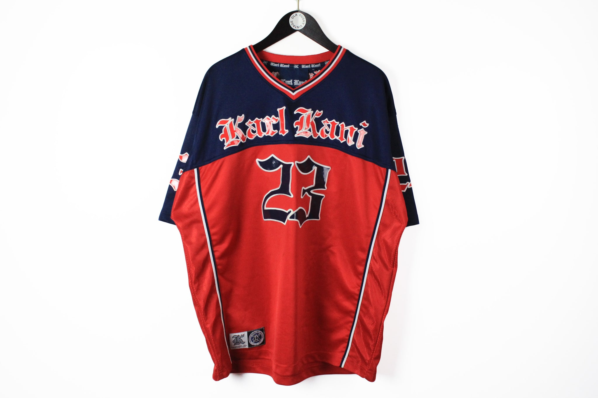 Vintage Karl Kani T-Shirt XLarge big logo 90s sport 23 Brooklyn style red blue jersey hip hop tee