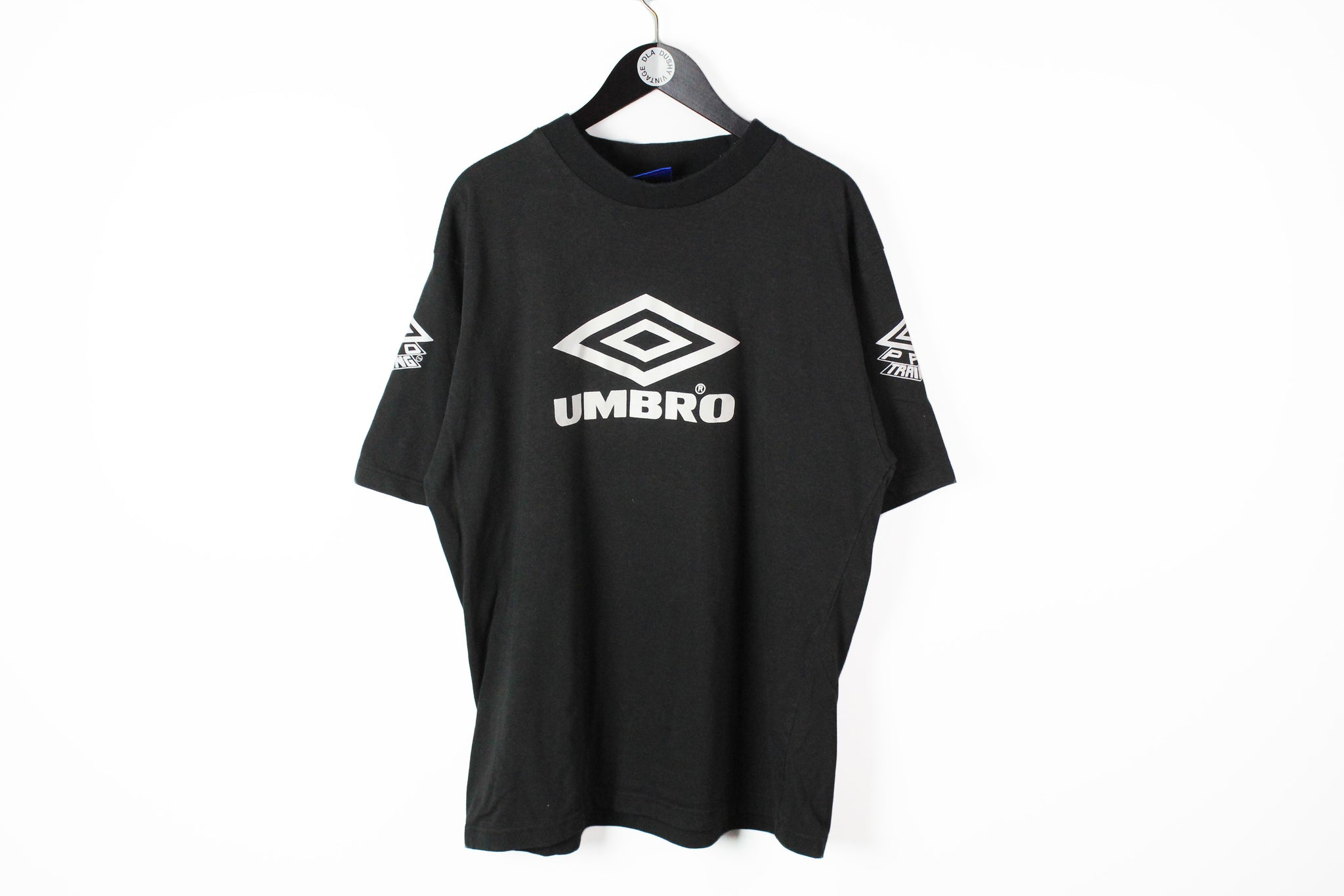 Vintage Umbro T-Shirt XXLarge black big logo 90s retro style cotton tee