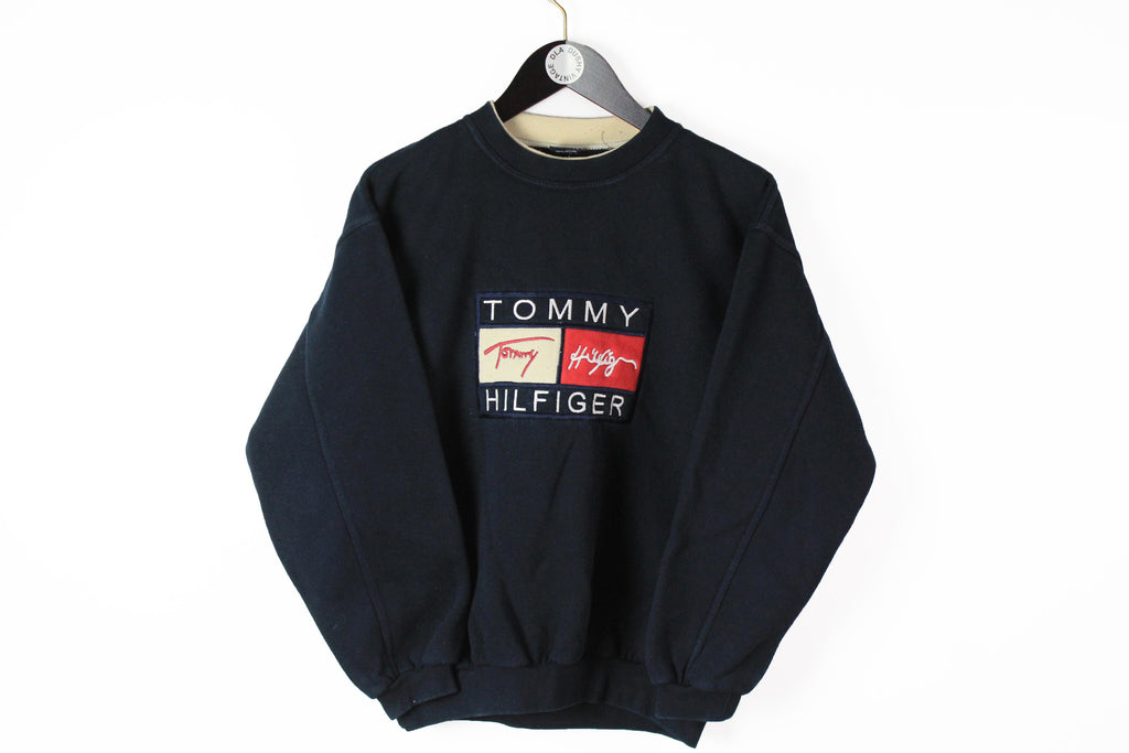 Vintage Tommy Hilfiger Sweatshirt Small navy blue jumper big logo retro style