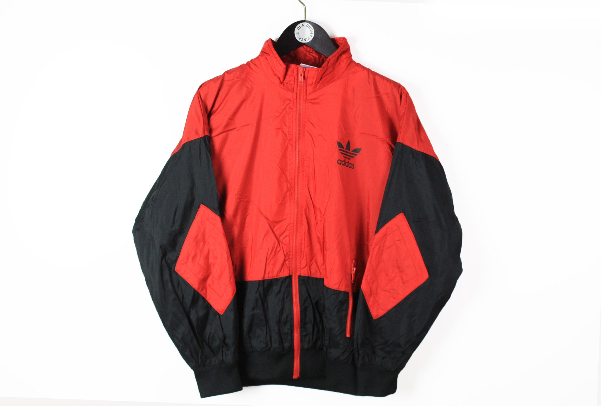 Vintage Adidas Track Jacket Medium black red 90s sport small logo retro style windbraeker