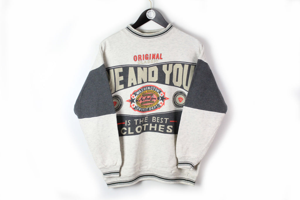 Vintage Sweatshirt Small white black 90s sport jumper USA style Me And You is the best clothes