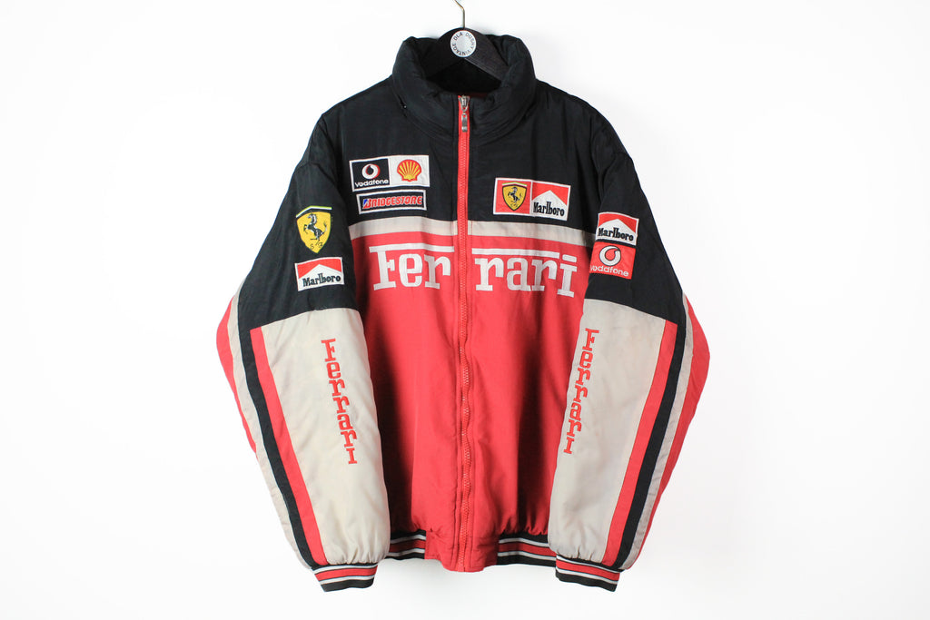 Vintage Ferrari Jacket XXLarge 90s puffer down jacket retro style big logo Michael Schumacher sport F1 Formula 1 racing jacket