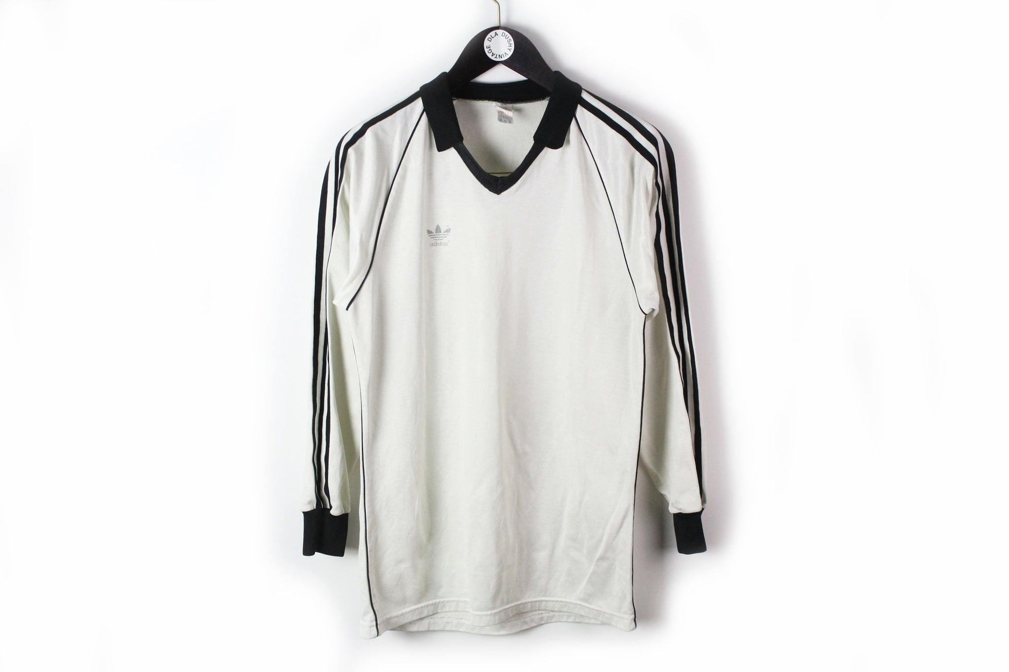 Vintage Adidas Long Sleeve Jersey T-Shirt Medium white black 13 Germany national team football tee