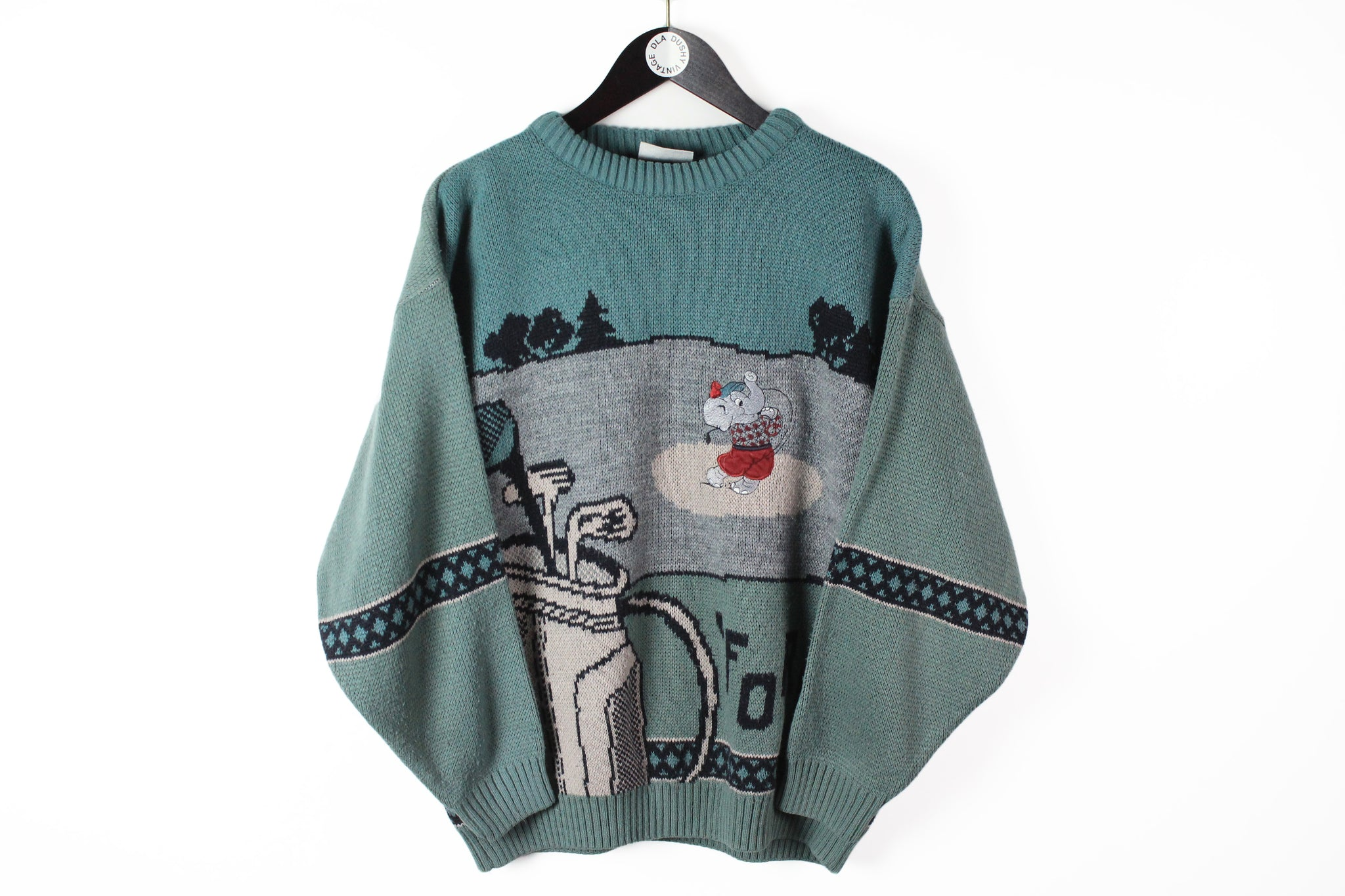 Vintage Golf Sweater Medium elephant green big logo embroidery 90s 80s winter jumper