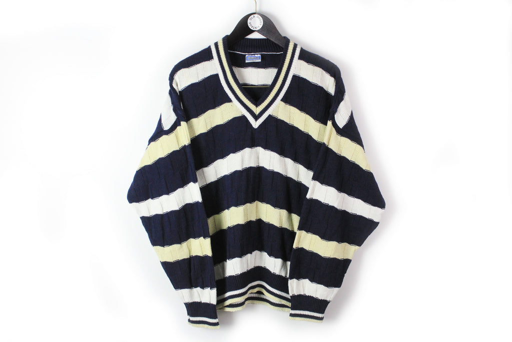 Vintage Yves Saint Laurent Sweater Large striped pattern deep V-neck pullover