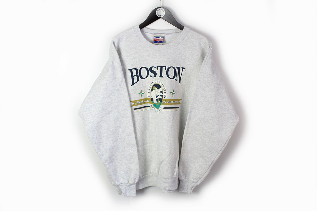 Vintage Boston Hanes Sweatshirt Large gray 90s retro style jumper