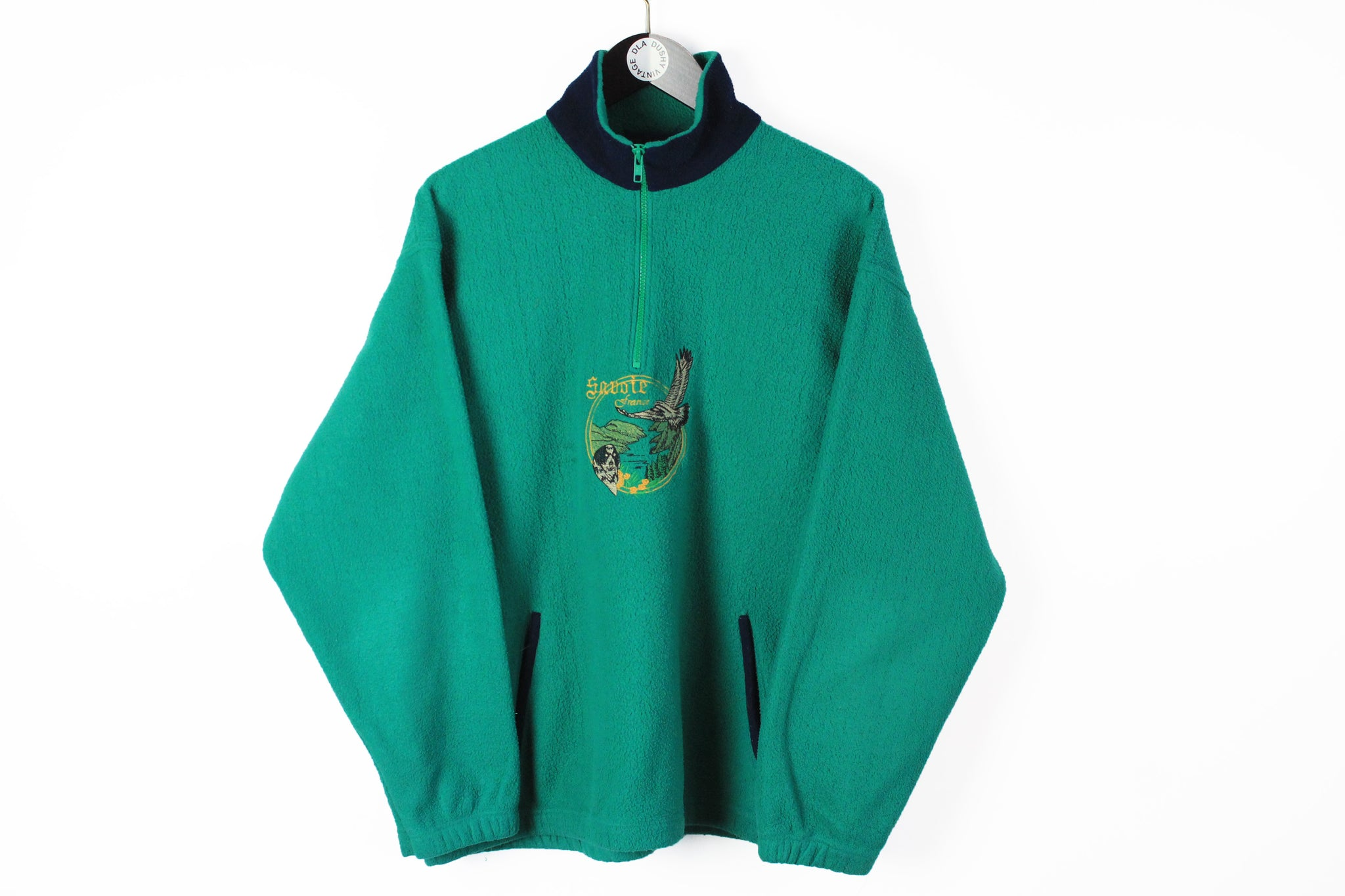 Vintage Fleece Half Zip Medium green big logo embroidery france animal pattern nature sweater