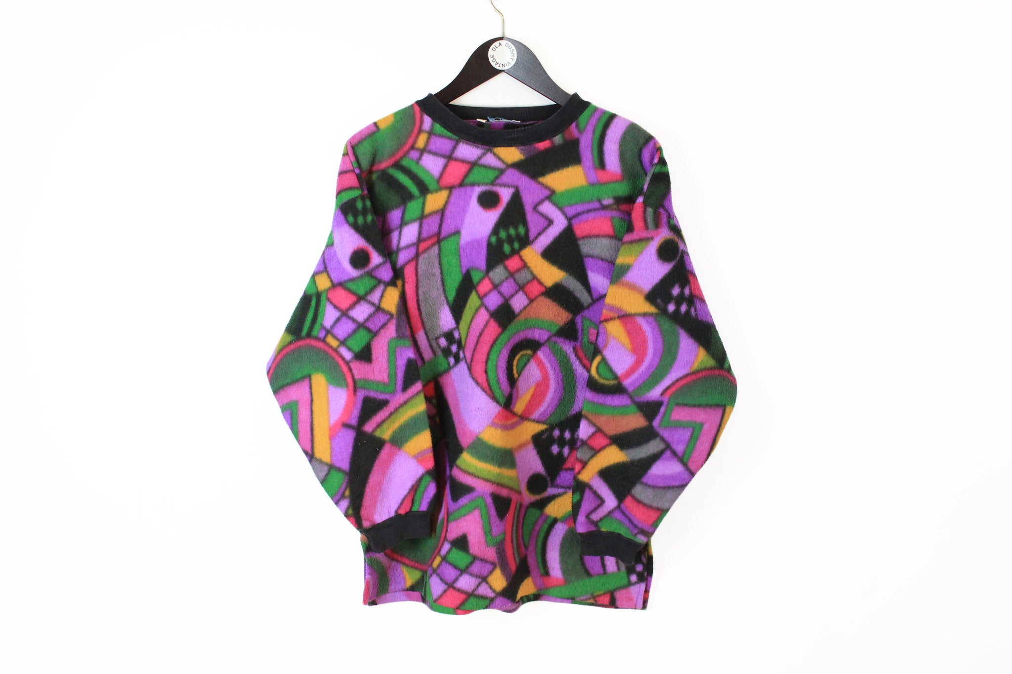 Vintage Fleece Sweatshirt Women's Medium / Large abstract crazy pattern multicolor sweater