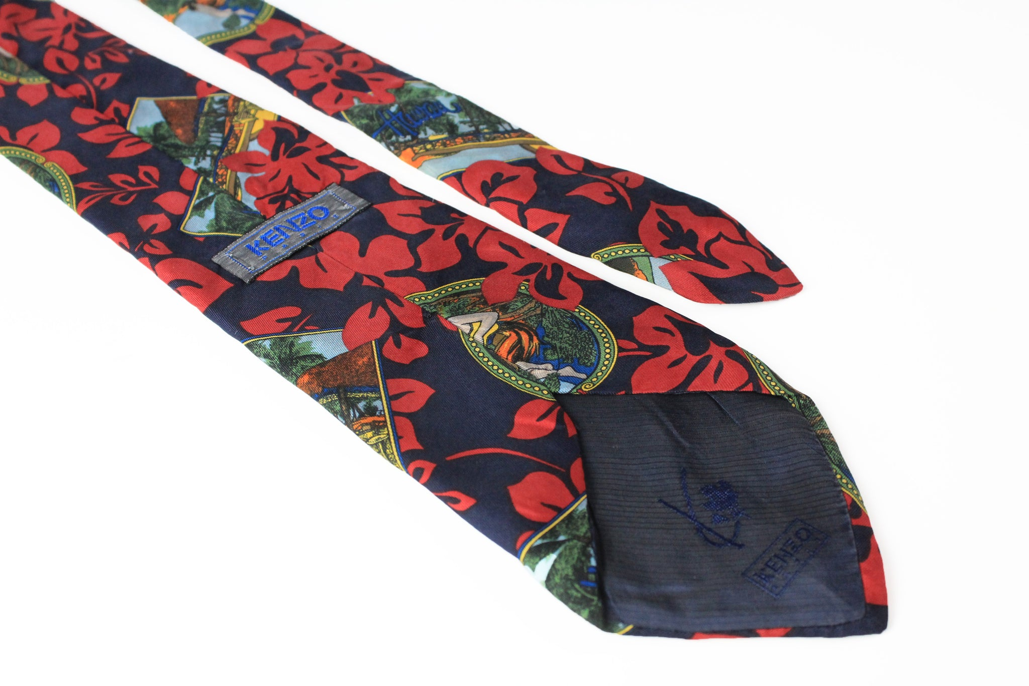 Vintage Kenzo Tie abstract pattern landscape 90s silk