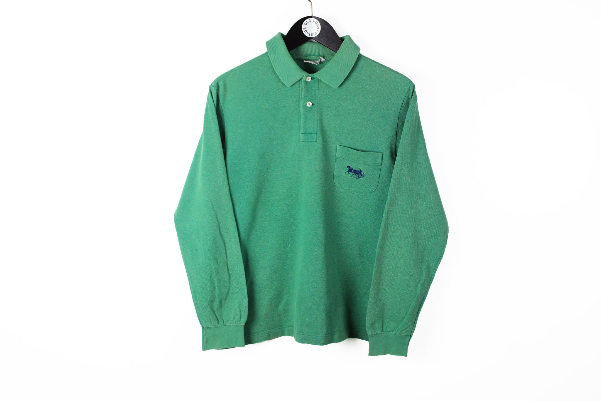 Vintage Celine Rugby Shirt Small green small logo 90s retro style luxury t-shirt long sleeve