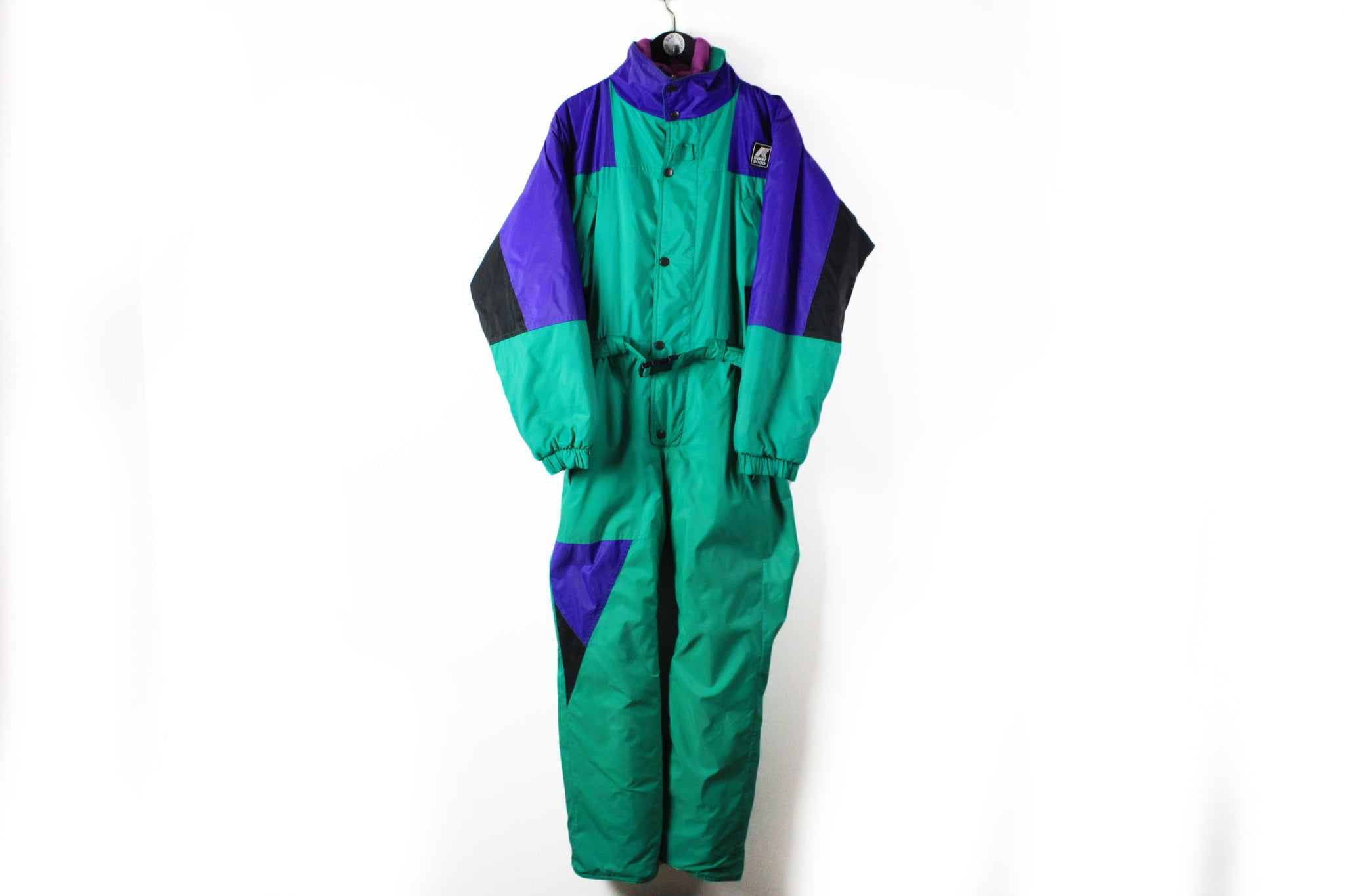 Vintage K-Way 1992 Albertville Ski Suit Small / Medium green blue 90s retro style jumpsuit skisuit coverall jacket