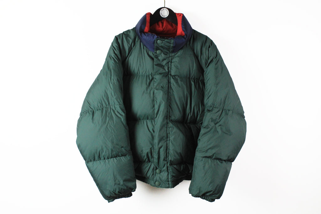 Vintage Nautica Puffer Jacket green red double sided 90s sport winter