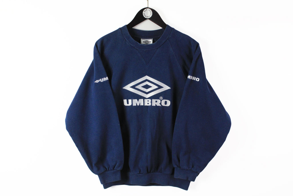 Vintage Umbro Sweatshirt Small / Medium big logo navy blue 90s jumper cotton sport UK style