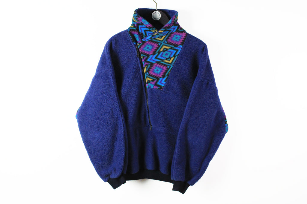 Vintage Fleece Half Zip Women's XLarge navy blue abstract pattern 90s sport windbreaker sweater