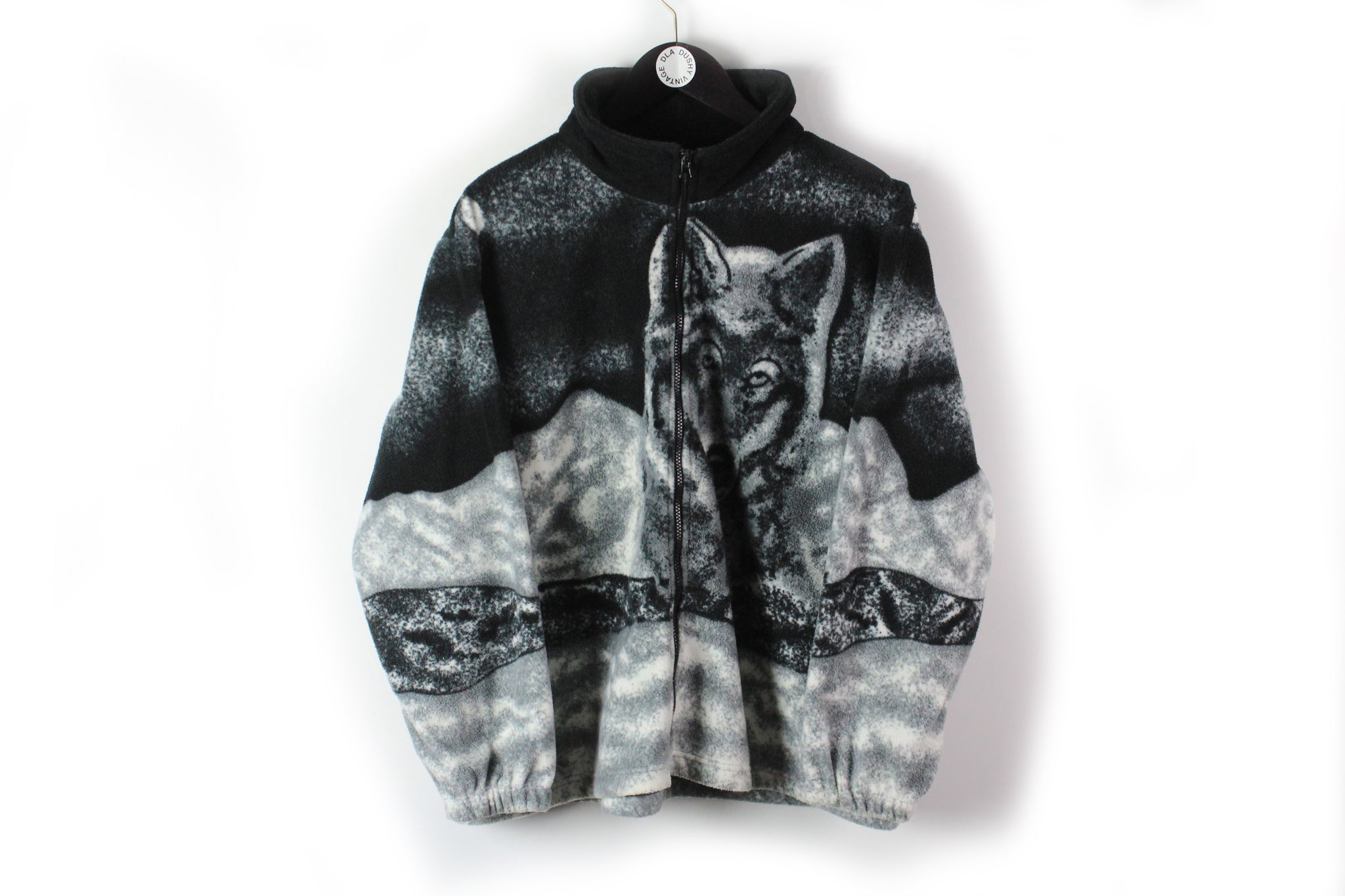 Vintage Wolf Fleece Full Zip Medium black gray animal pattern sweater winter hype cardigan