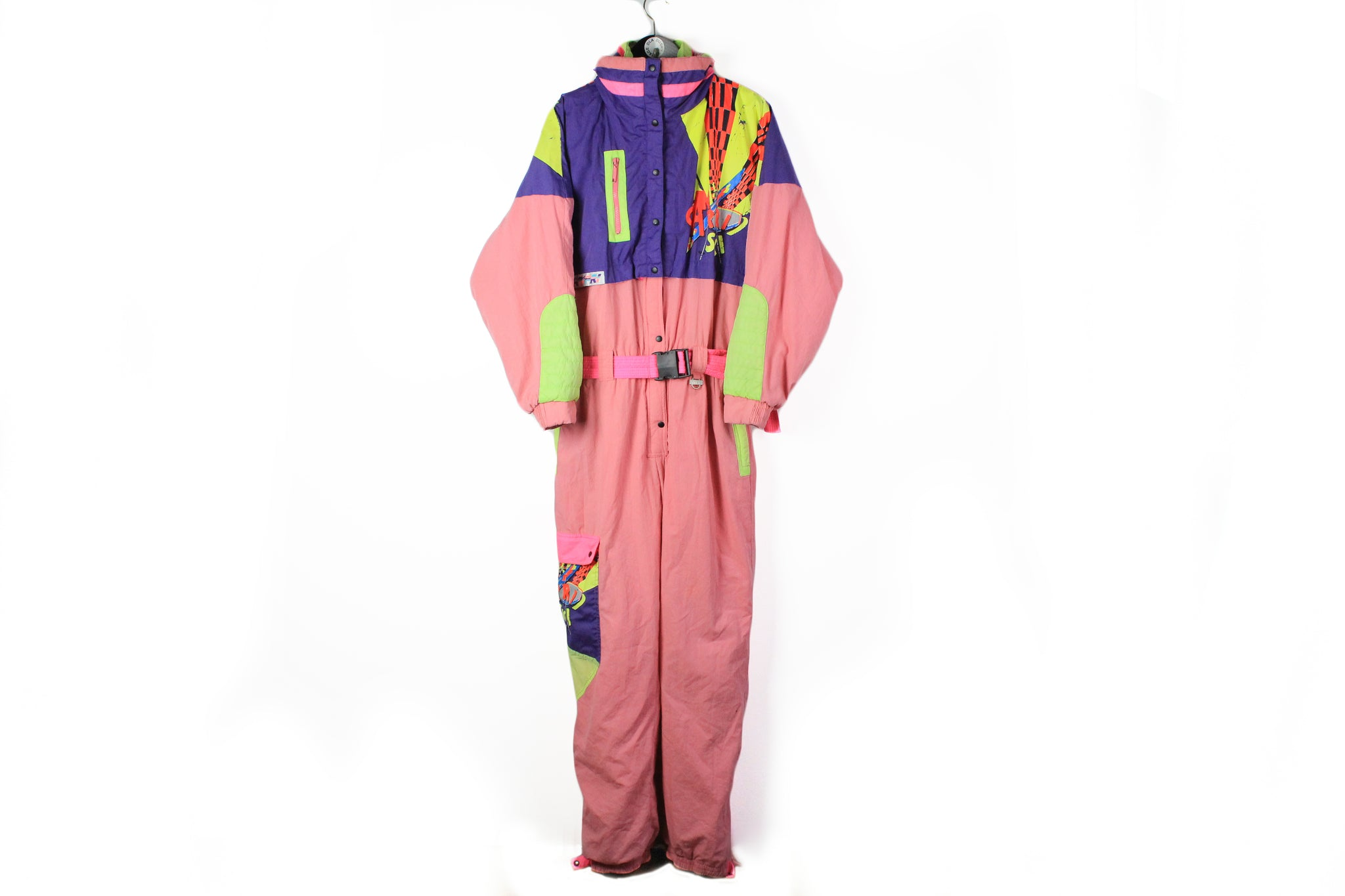 Vintage Campri Ski Suit Small / Medium pink purple 90s mountain winter jumpsuit