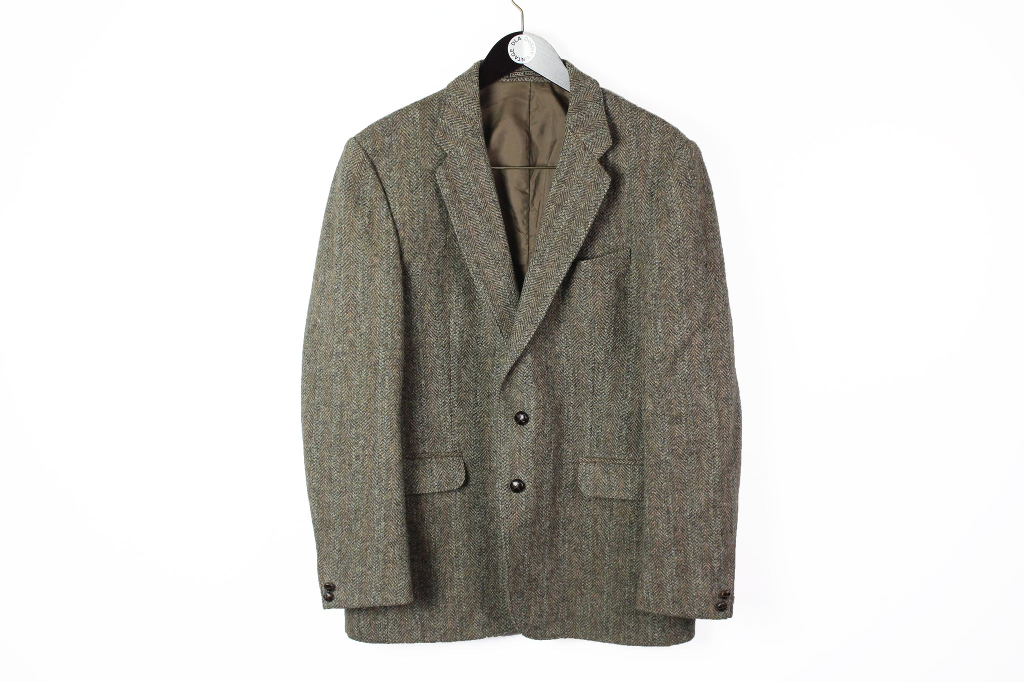 Vintage Harris Tweed Blazer XLarge brown wool 90s classic UK style jacket