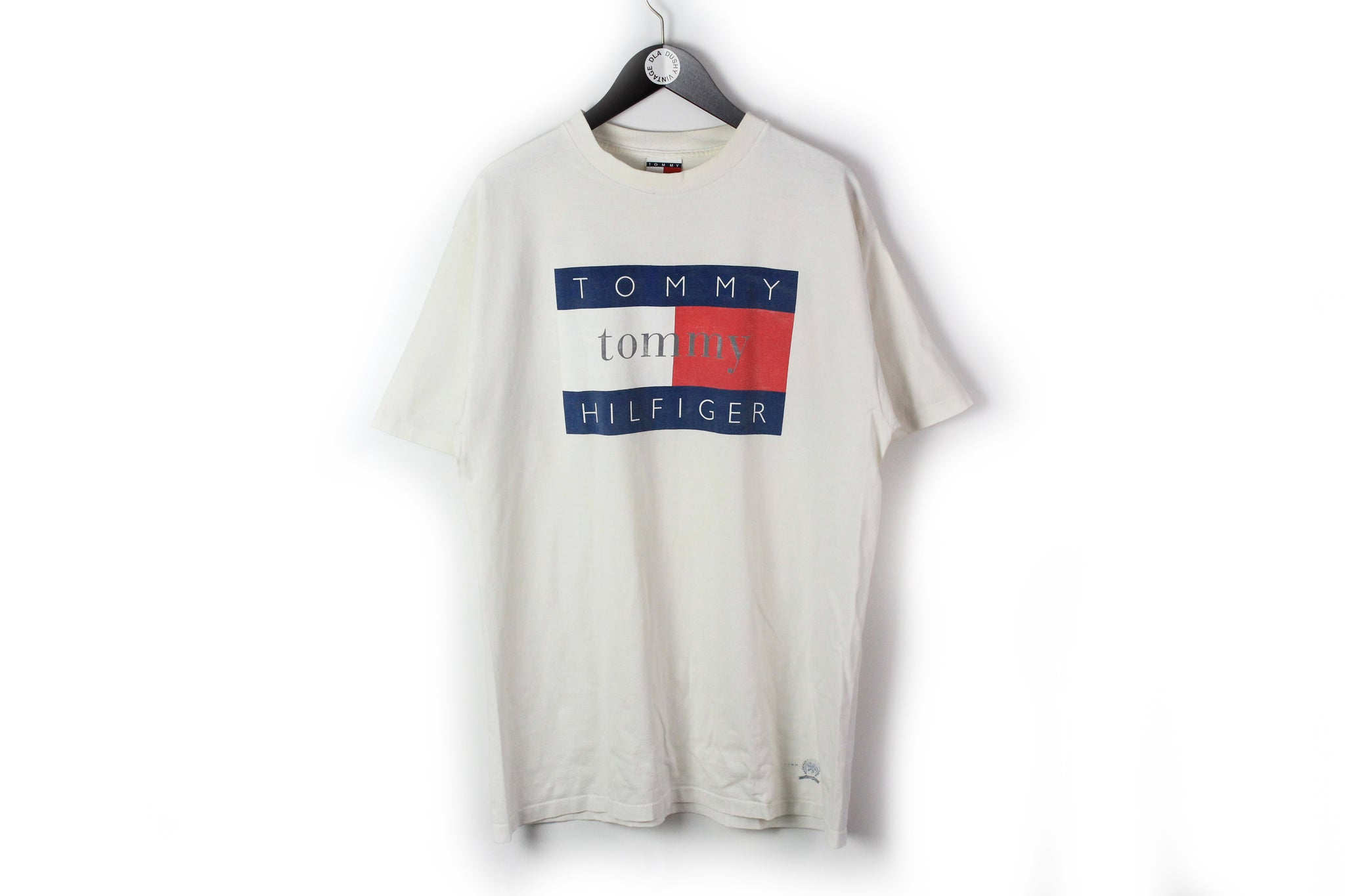 Vintage Tommy Hilfiger T-Shirt XLarge / XXLarge white big logo 90s made in USA cotton tee