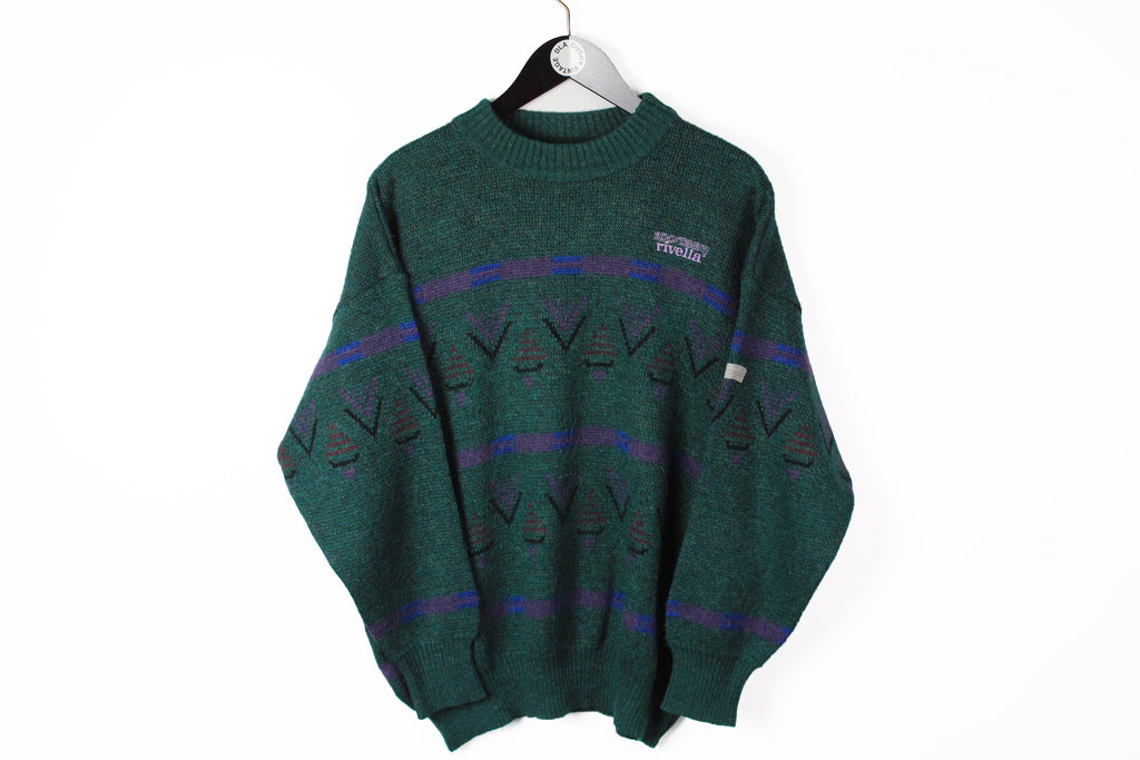 Vintage Adidas Sweater Medium green wool 90s crew neck retro style made in West Germany