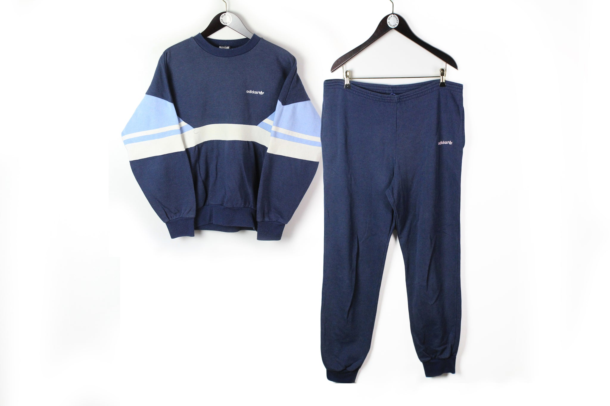 Vintage Adidas Tracksuit (Sweatshirt + Pants) Small / Medium blue 90s sport style cotton jumper and trousers athletic sport suit