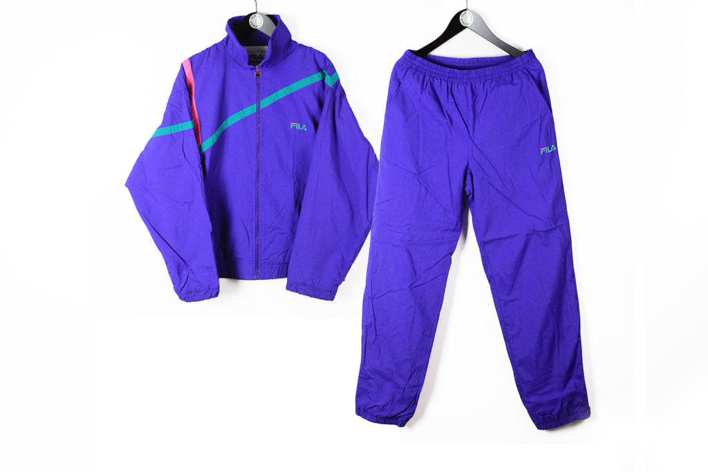 Vintage Fila Tracksuit Large purple 90s big logo retro style Italy athletic brand sport suit