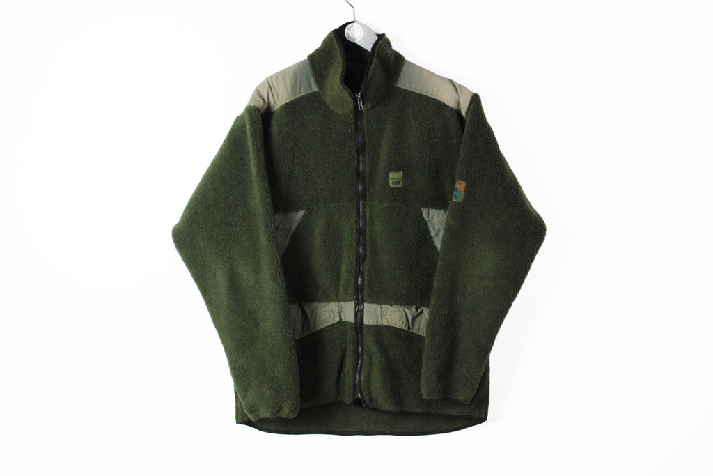 Vintage Helly Hansen Fleece XLarge green military style winter outdoor extreme sweater jacket