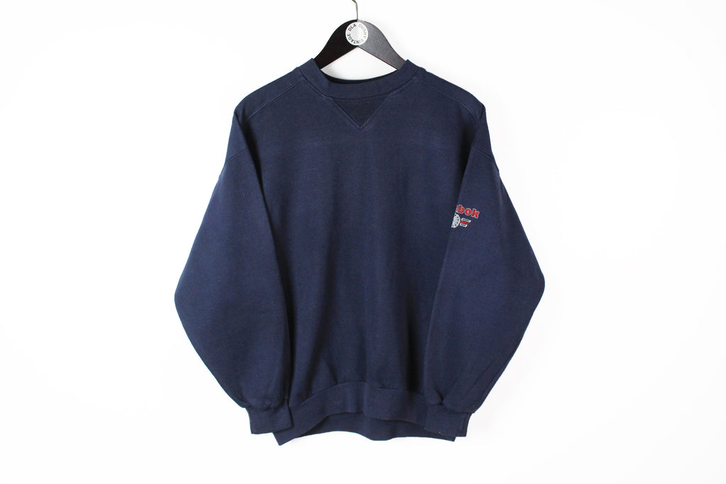 Vintage Reebok Sweatshirt Small navy blue 90s small logo retro UK Style sport athletic pullover