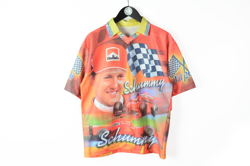 Vintage Ferrari T-Shirt Medium Michael Schumacher Schummy Marlboro nylon polo shirt